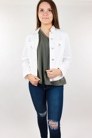 Uptown Distressed Denim Jacket - White