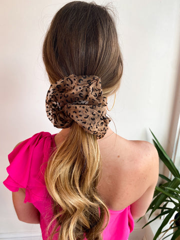 Over Size Mesh Scrunchie -Leopard