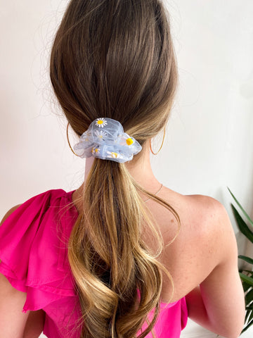 Daisy Sheer Scrunchie - Blue