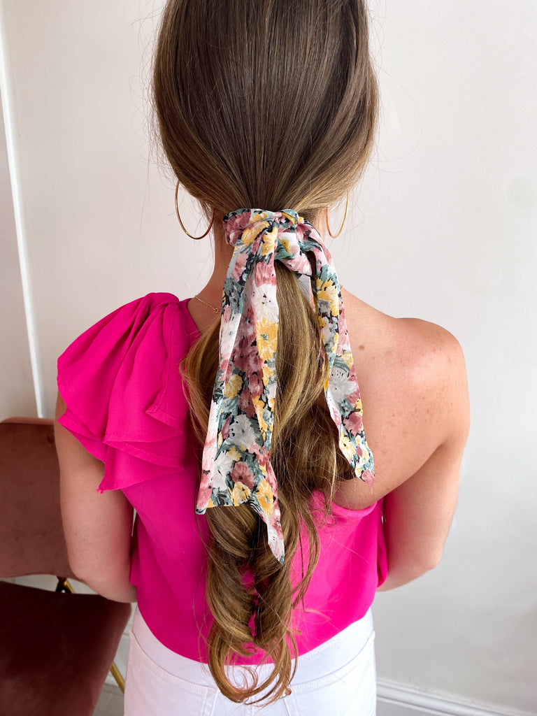 90's Floral Hair Ribbon