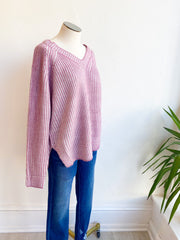 Grape Soda Ribbed VNeck Sweater