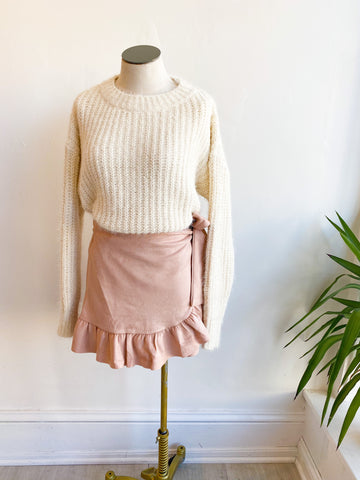 Sweet Pea Suede Tie Skirt - Blush