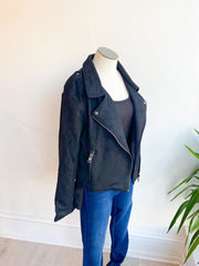 Sure Thing Faux Suede Moto Jacket - Black