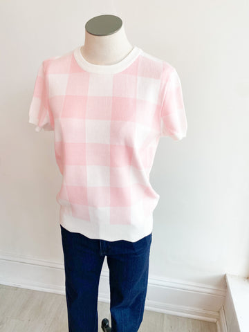 Ruth Gingham Short Sleeve Sweater