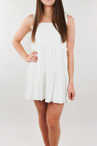 Staple Piece Tiered Dress - White