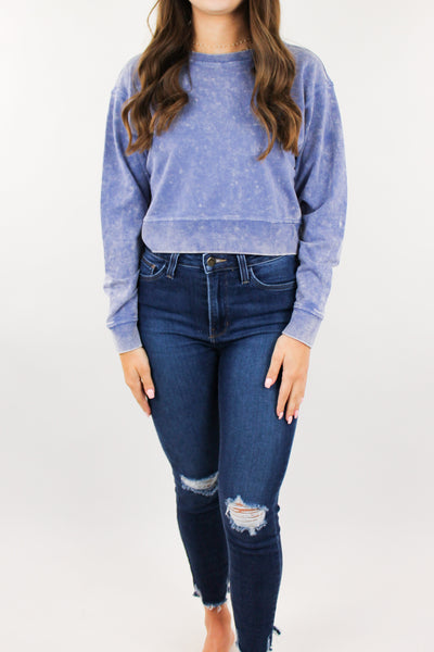 Raine Dyed Cropped Sweatshirt - Indigo