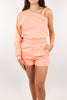 Malibu Girl One Shoulder Set - Apricot