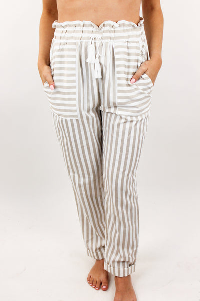 Sign of Love Stripe Paper Bag Pants
