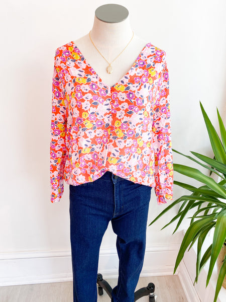 All Grown Up Floral Button Blouse