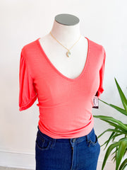 Frilly & Fancy Cropped Top - Coral