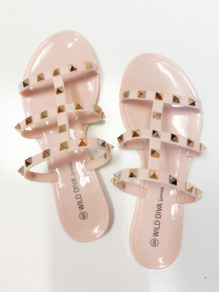 Treasured Gold Studded Sandals - Natural