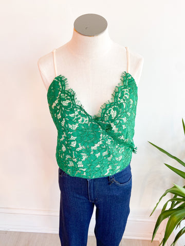 Izmit Scallop Lace Cami Bodysuit - Emerald