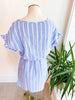 Flounce Sleeve Vertical Striped Fitted Dress