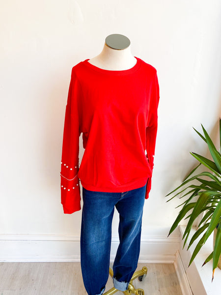 Carson Embellished Sleeve Sweater - Red