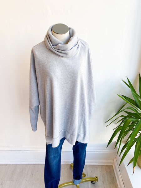 Last to Love Cowl Neck Sweater - Heather Grey