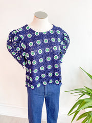 Blazing Heat Flower Embroidery Top