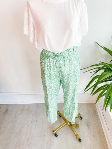 Jade Lime Floral Cropped Pants