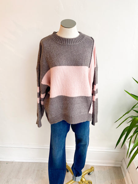 Sporty Stripe Cable Knit Sweater - Grey/Pink