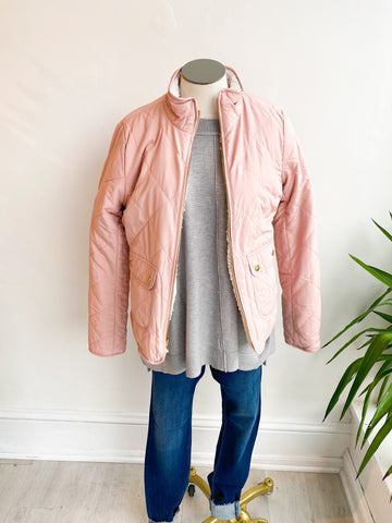 Check the Weather Quilted Bomber Jacket - Blush