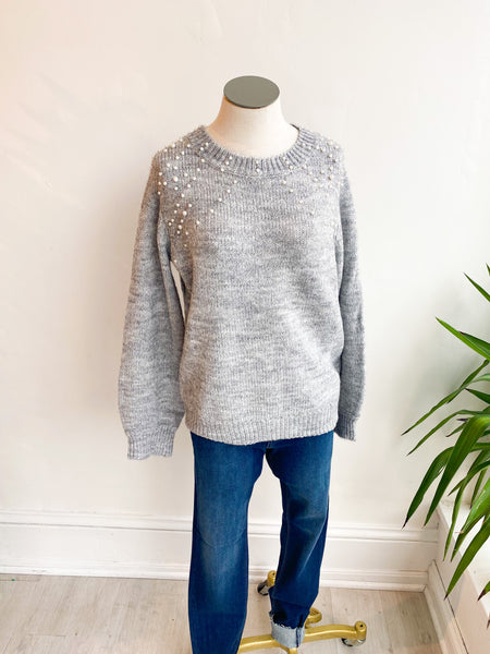 Bader Pearl Bubble Sleeve Sweater