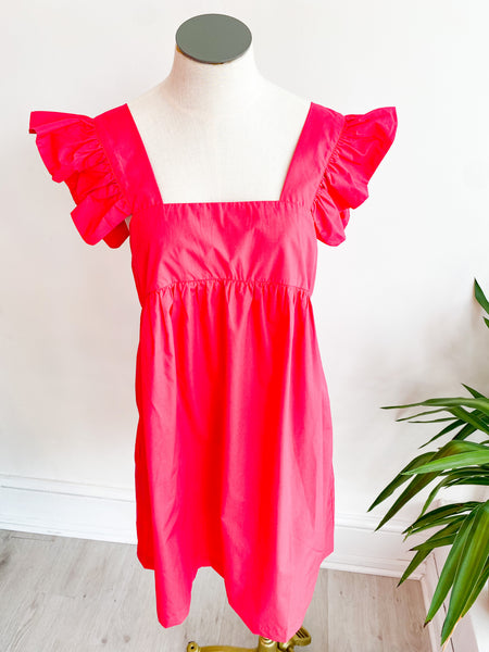 Ruffle Armhole Solid Babydoll Dress