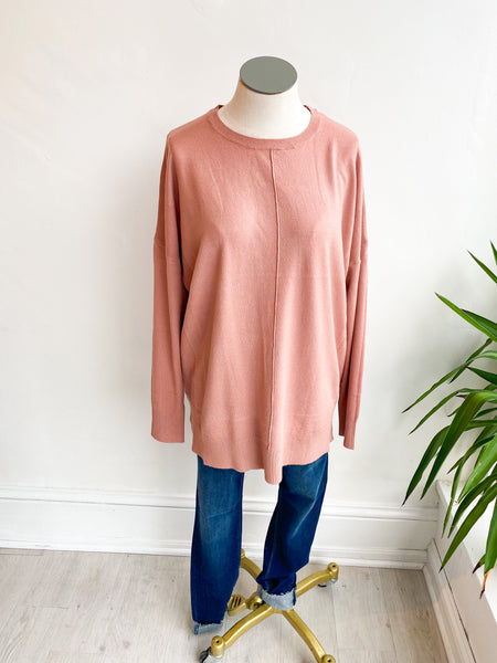 Laney Round Neck Sweater - Dusty Rose