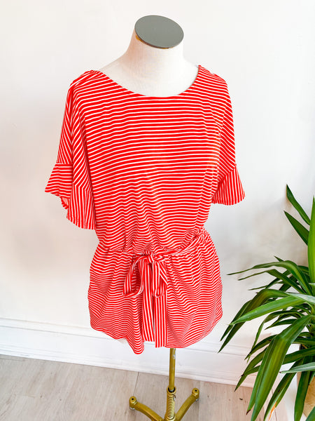 Rena Basic Stripe Jumpsuit - Red