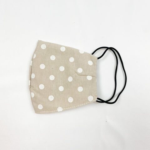 Cotton Print Face Mask - Taupe Dot
