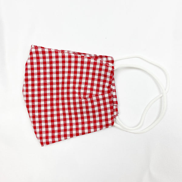 Cotton Print Face Mask - Red Gingham