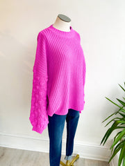 Camille Bubble Sleeve Sweater - Orchid