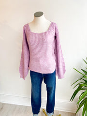 My Way Square Neck Sweater - Lavender