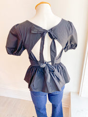 Double Standard Bow Peplum Top