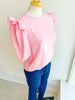 Happy Go Lucky Ruffle Top - Pink