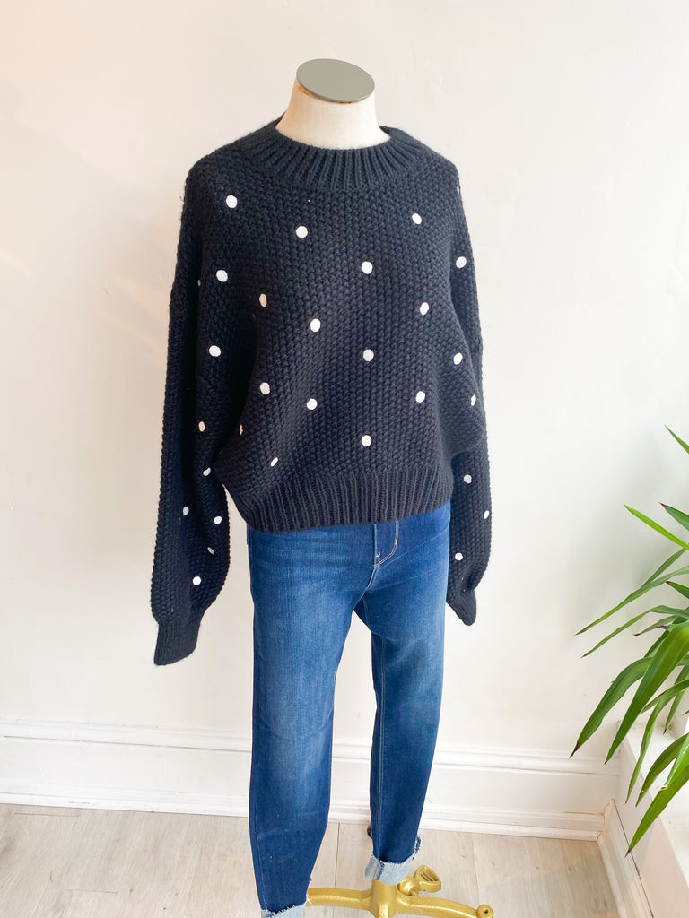Minnie Embroidered Dot Sweater