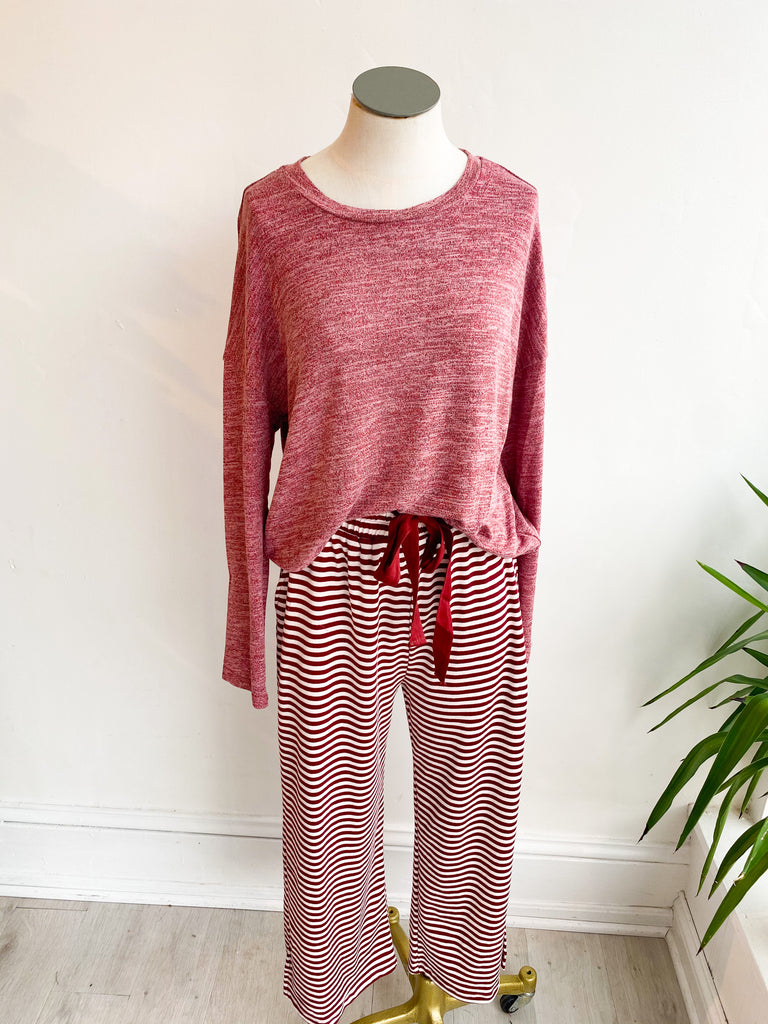Atmosphere Stripe Lounge Set - Burgundy