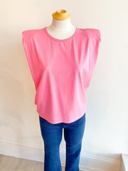 Take Chances Basic Shoulder Pad Tee - Pink