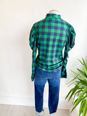 Out and About Plaid Knit Top - Green