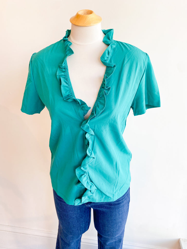 One Try Ruffle Top - Mint