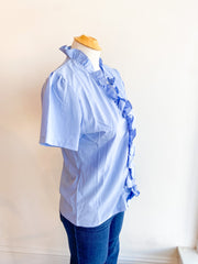 One Try Ruffle Top - Light Blue