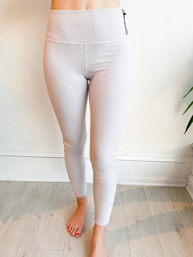Textured Snake Double Layer Leggings - Grey