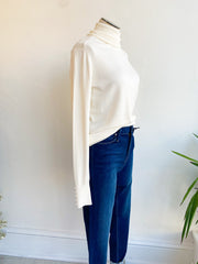Kyra Lightweight Turtleneck Button Sweater - Cream