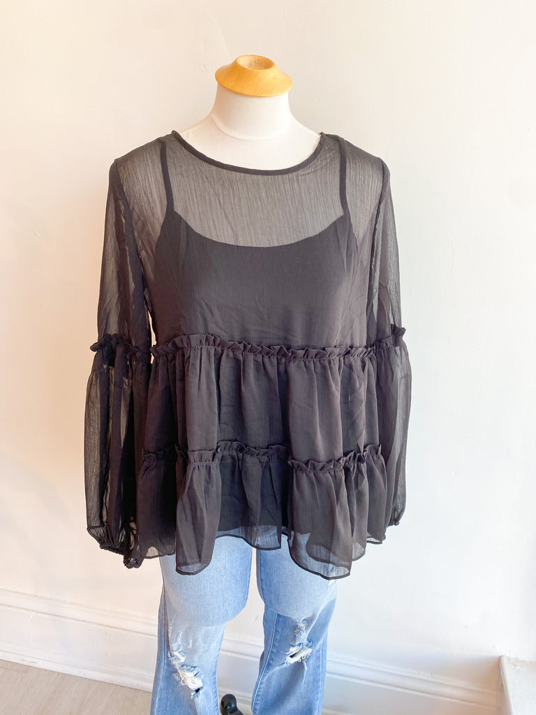 Out of This World Balloon Sleeve Sheer Top