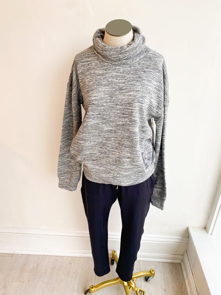 Dudley High Neck Sweatshirt - Marled Charcoal