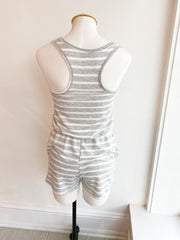 Summer Day Stripe Knit Romper - Grey