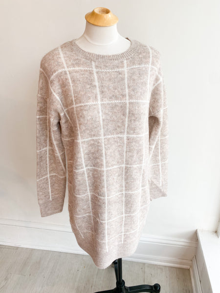 Having A Grid Day Sweater Dress - Oatmeal