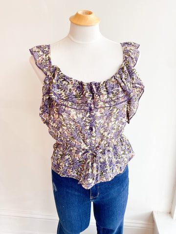 Twist in Time Floral Button Top