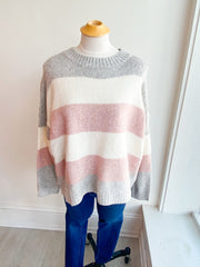 Romance Striped Color Block Sweater