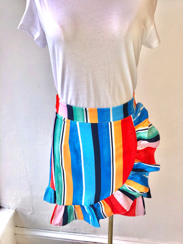 Ferris Wheel Stripe Ruffle Skirt