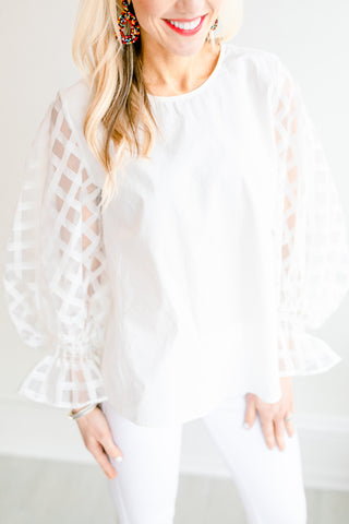 I Do Sheer Sleeve Blouse