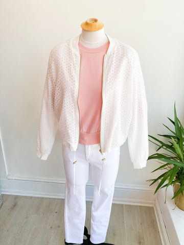 Light as a Feather Eyelet Bomber Jacket